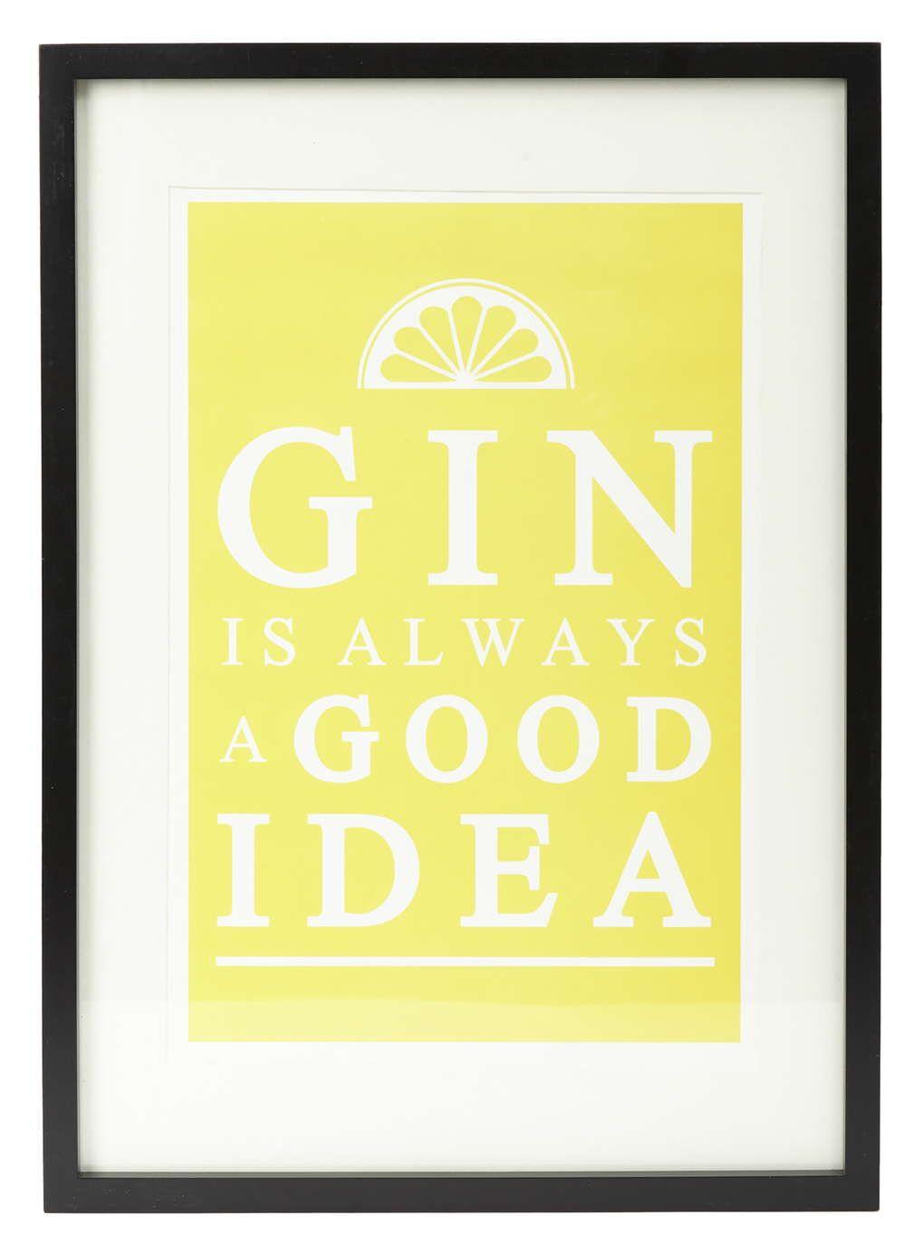 Gin Is Always A Good Idea Yellow Framed Print   Wall Art   Pinterest ...