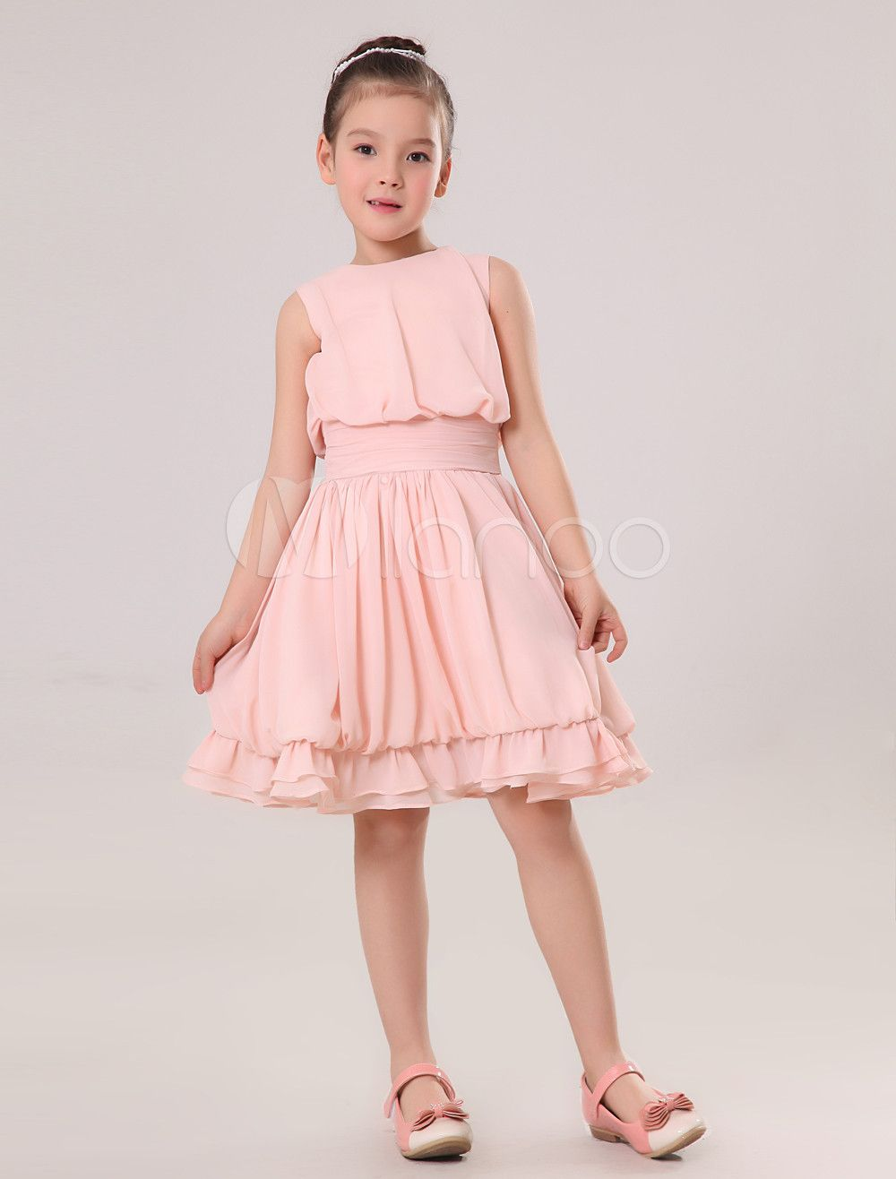 Vestido para las niñas de flores de chifón con escote redondo sin ...