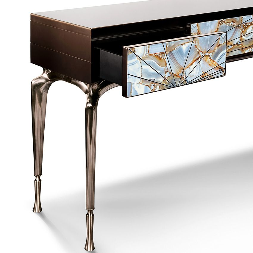 Agate Console Table Ar Detail Of Semi Precious Agate Stone Console Table With Polished Metal Fram Furniture Design Modern Interior Furniture Fitted Furniture