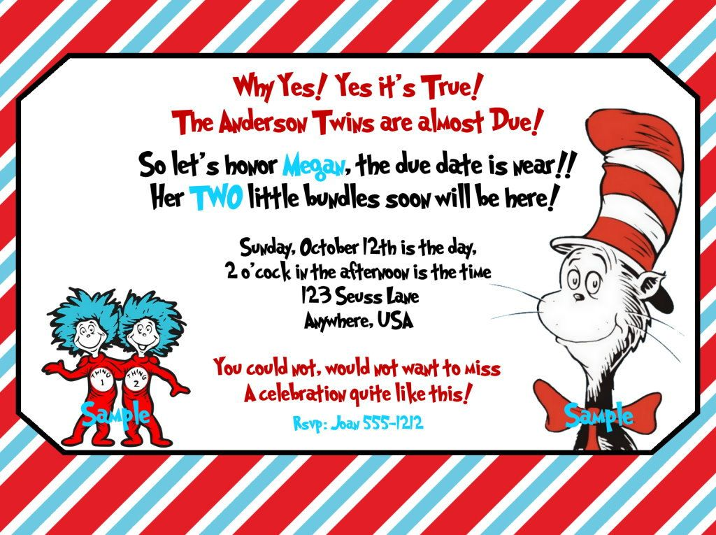 Dr Seuss Twin BABY SHOWER invitation Dr. by Createphotocards4u, $15.00