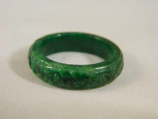 Green Brown /& Orange Jade Ring Band Sz 8