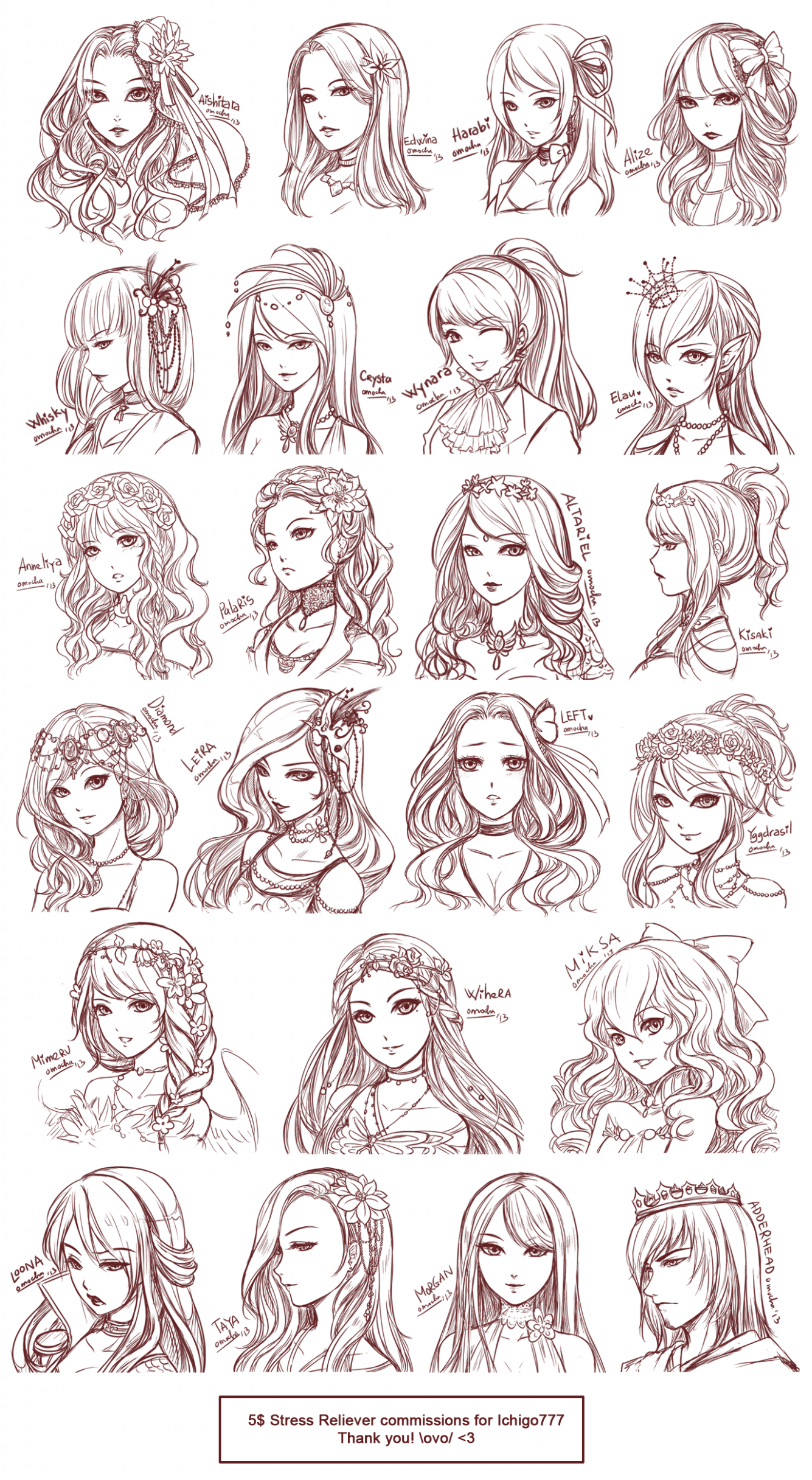 Female Hairstyle Reference  Girl hair drawing, Drawing hair