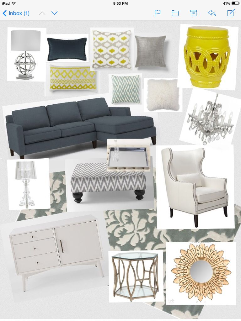 Hollywood Glam meets Contemporary. Navy, yellow and grey living room ...