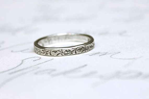 Skinny Wedding Ring With Vines Thin Band Recycled Silver Engraved Xo