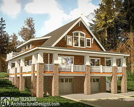Plan 18283be Rear Sloping House Plan With Magnificent Wraparound Porch Cottage House Plans Small Cottage House Plans Lake House Plans