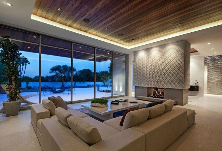Salones con chimenea - cincuenta diseños acogedores   Salón moderno ...