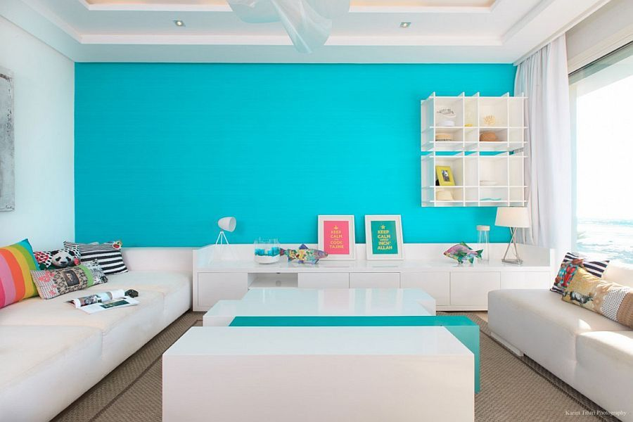 Exceptional Lovely Splash Of Turquoise In The Living Room Creates A Vivacious Accent  Wall Splashes Of Brilliance: Vivacious Home In Skhirat Overlooking The  Atlantic