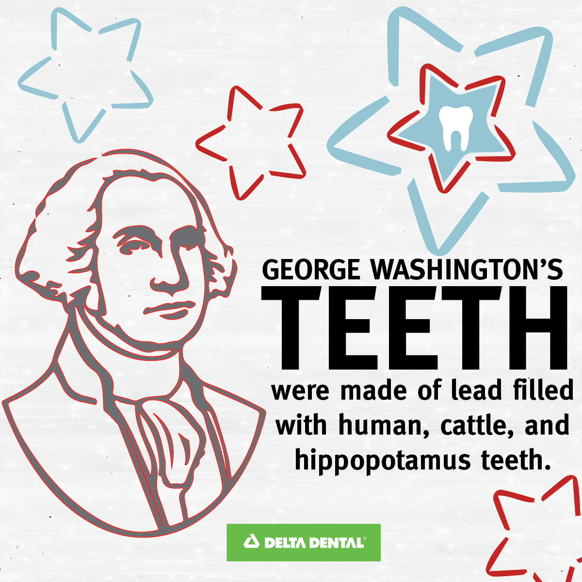 Washington's teeth weren't made of wood. His teeth were actually made of animal bones! #DeltaDental