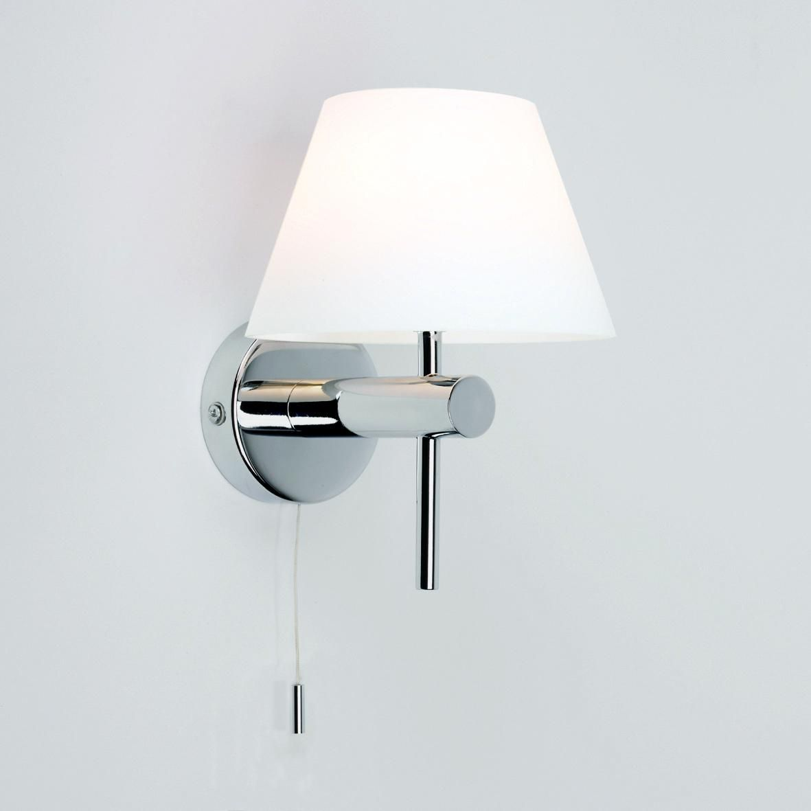 Bathroom Safe Wall Light With Glass Shade Pullcord Wall Lights