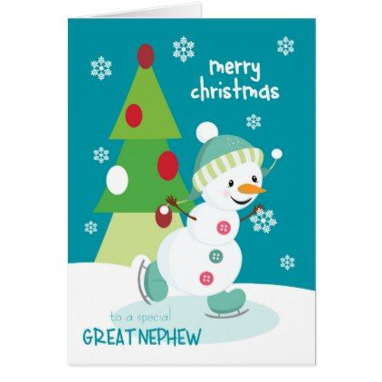 Merry Christmas Nephew.Christmas For Great Nephew Ice Skating Snowman Holiday Card Zazzle