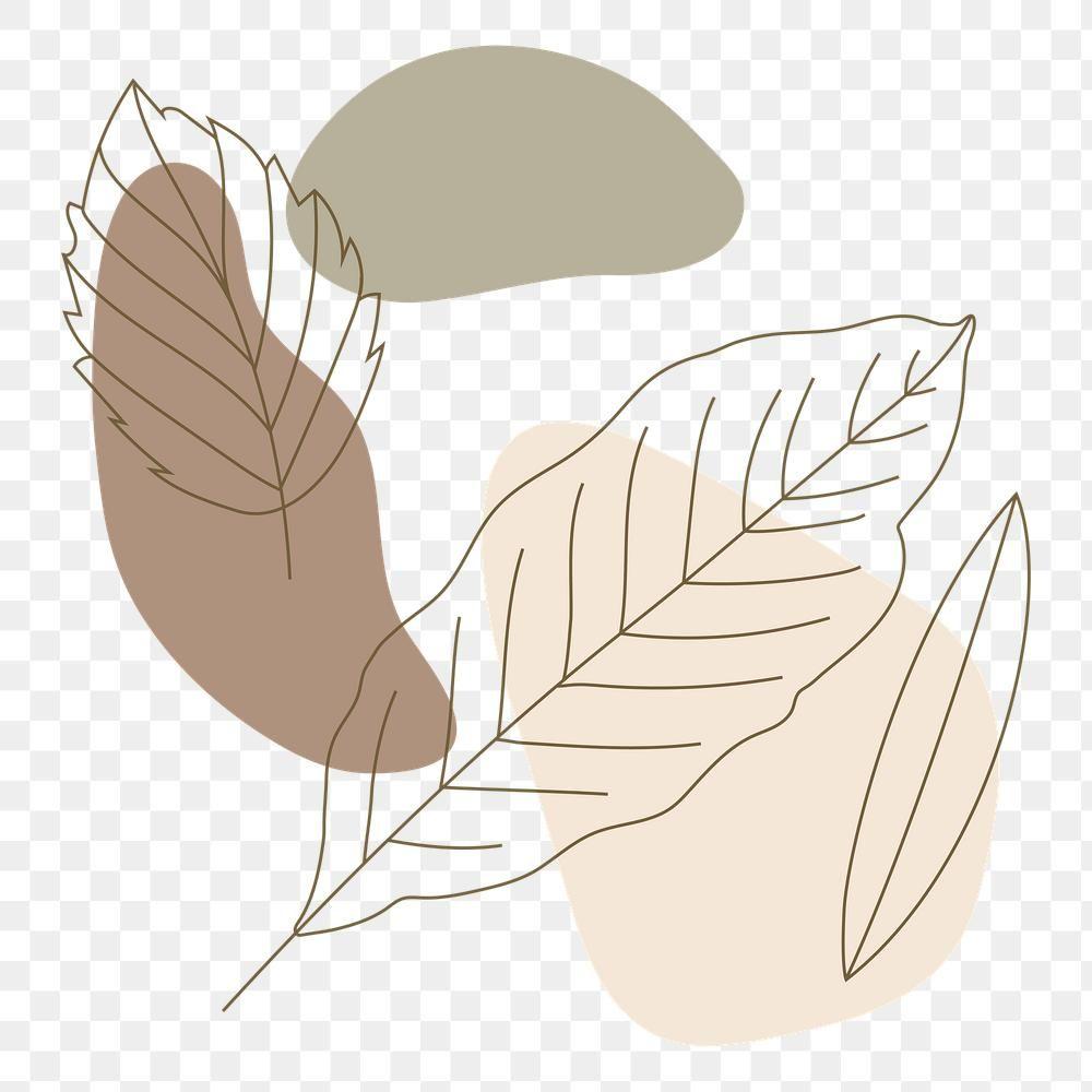 Download free png of Leaf line art pattern backgro