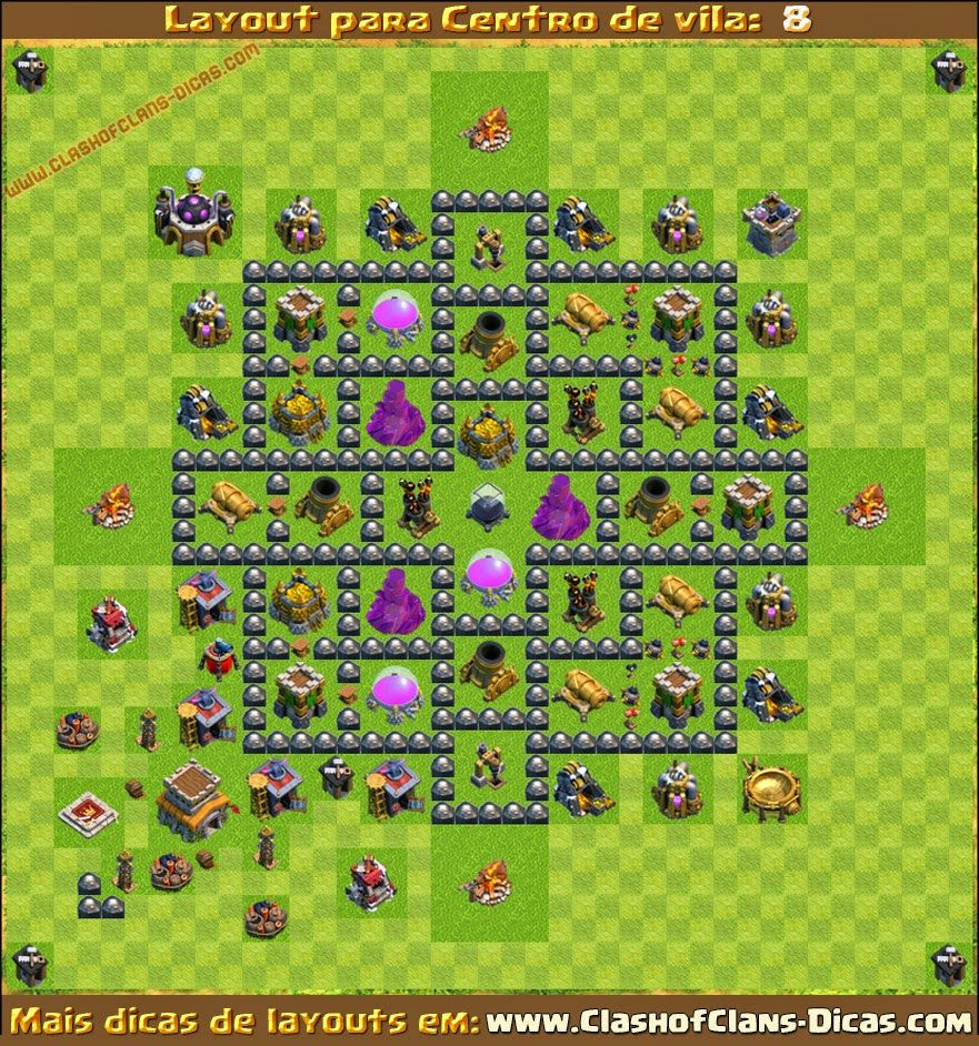 layouts centro de vila 8 cv8 para clash of clans clash of clans