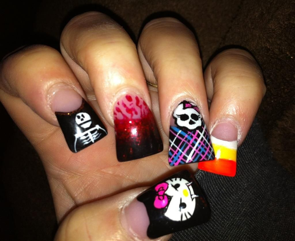 Halloween Flare Nails Flare Nails Holloween Nails Halloween Nails