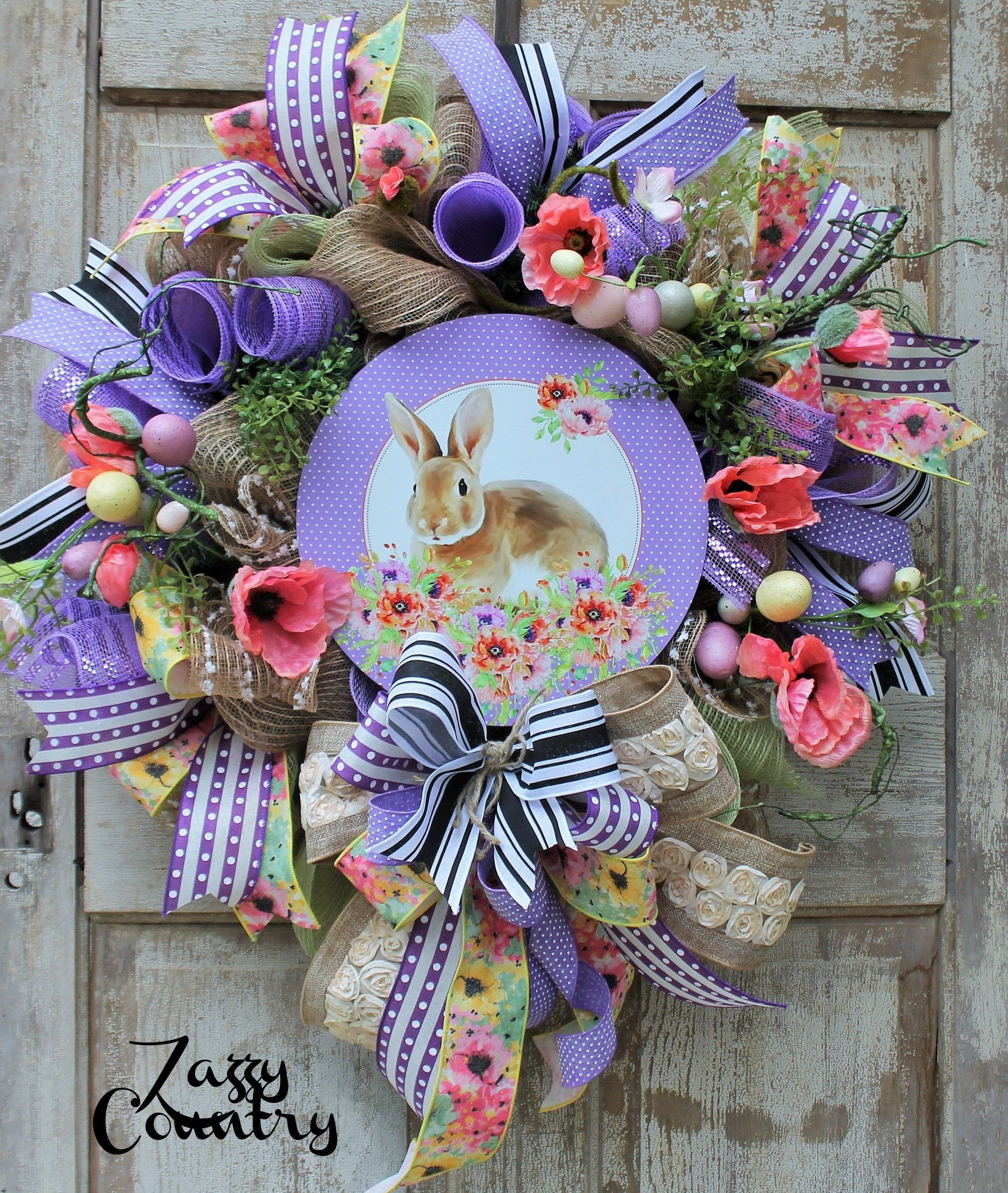 Photo of Shabby Chic Bunny, Floral Bunny Wreath, Spring Wreath, Easter Wreath, Easter Bunny Decor