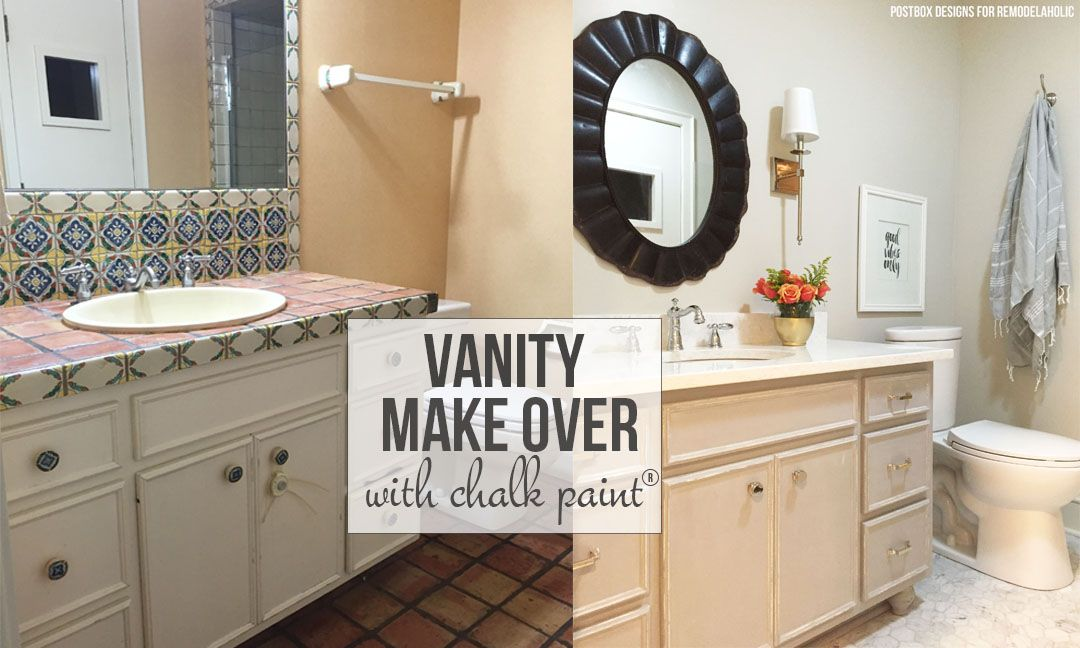 One Room Challenge Bathroom Makeover by Postbox Designs, chalk paint, annie  sloan, vanity makeover