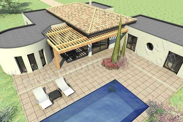 plan de maison moderne CAMELIA ciel piscine maison Pinterest