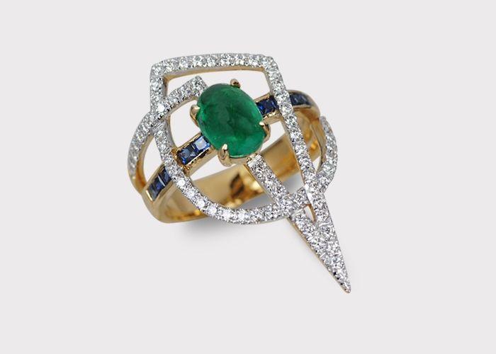 Kavant Sharart Emerald And Sapphire Diamond Ring By Award Winning