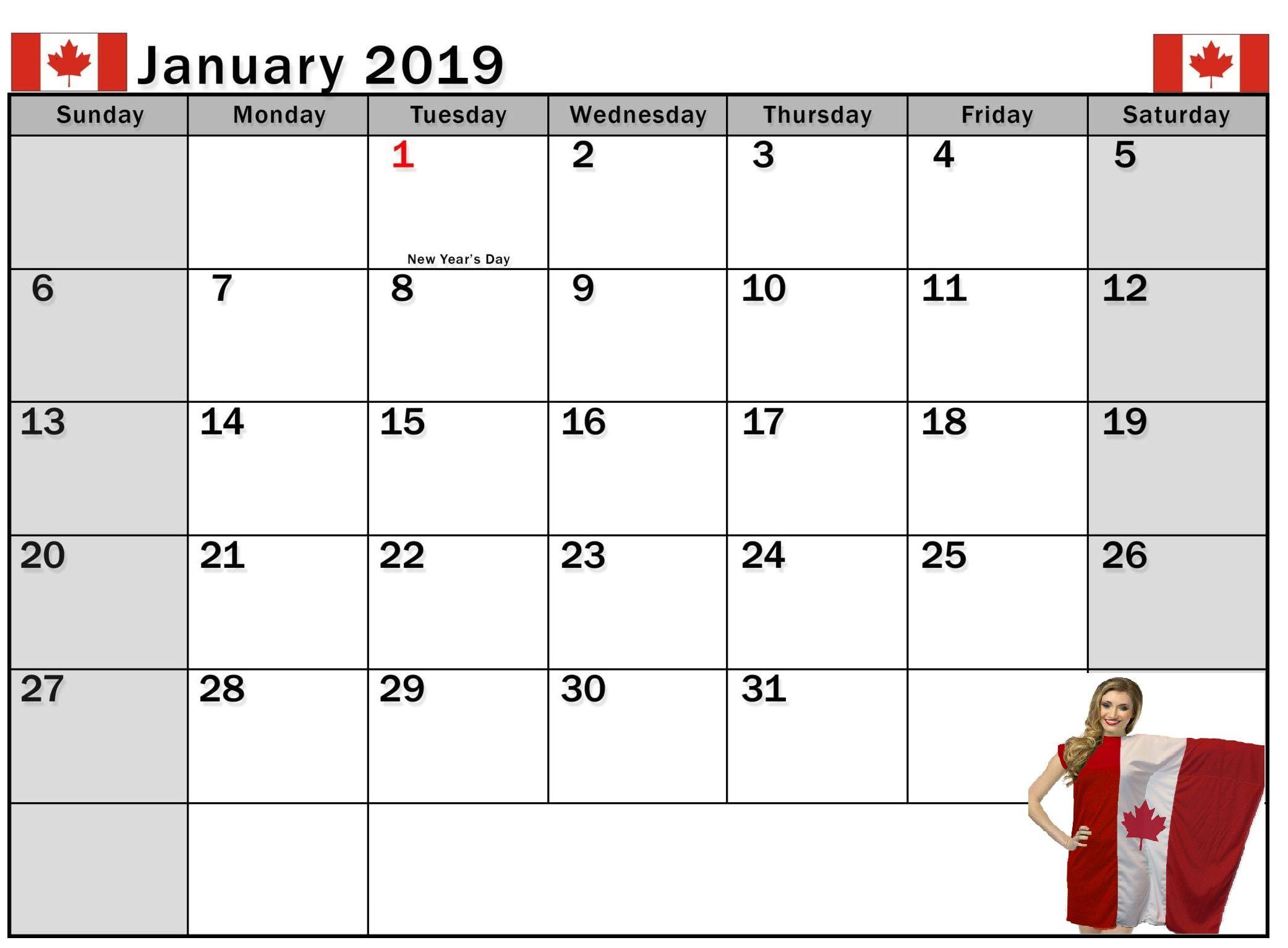 january 2019 calendar canada with holidays