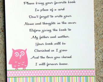 baby girl shower book insert car ds owl themed baby shower book poems