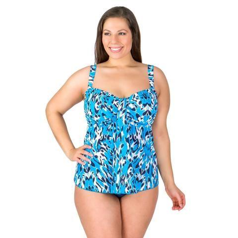 farrah leopard waterfall drape plus size swimwear top -final