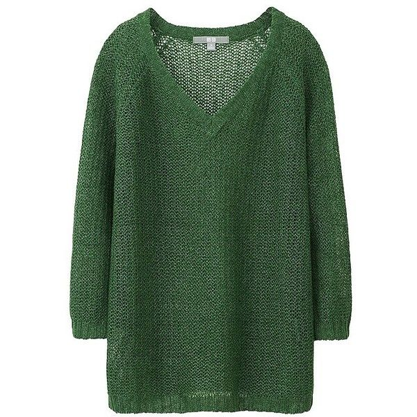 UNIQLO Women Linen Mesh Sweater (€1,70) ❤ liked on Polyvore featuring tops, sweaters, green top, loose tops, linen sweater, loose sweater and relaxed fit tops
