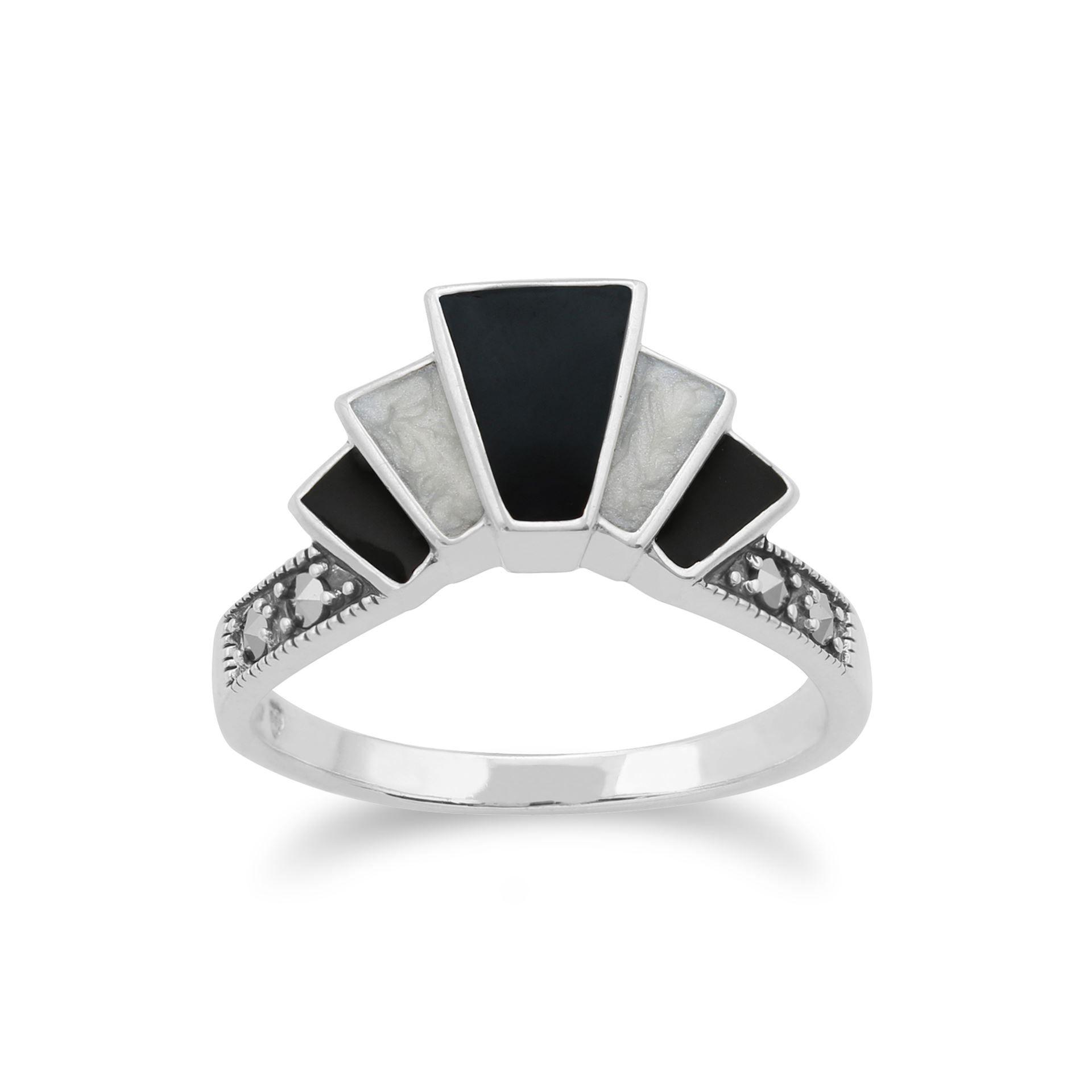 Gemondo Sterling Silver Art Deco 1.20ct Black Spinel & Marcasite Ring QKN6OqQrl