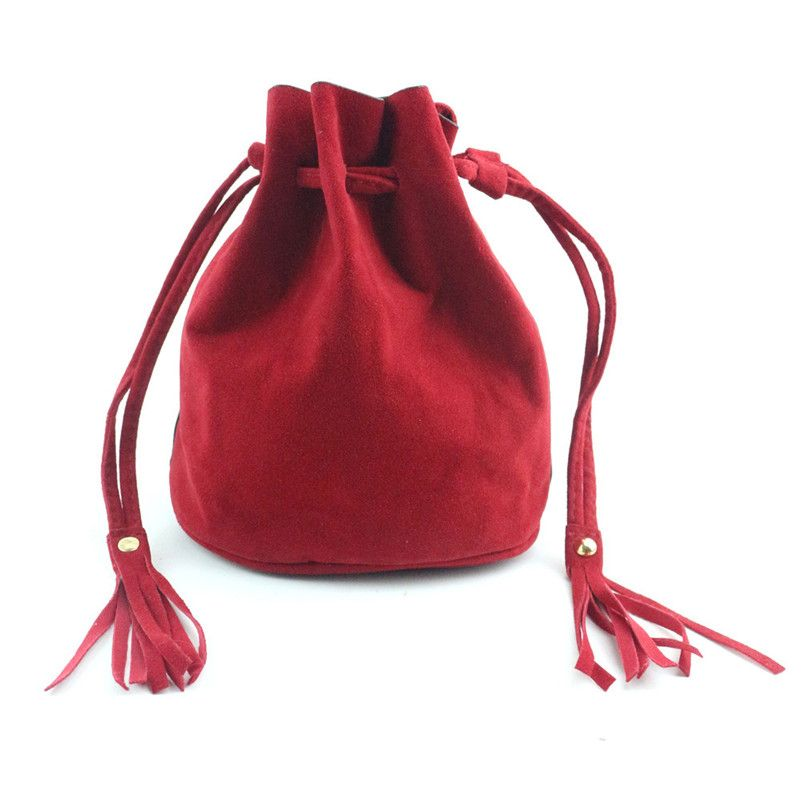 Fresh elegant women bag for elegant lovely lady Women Fashion Tassel Drawstring Handbag Shoulder Bag Large Tote Ladies Purse M7
