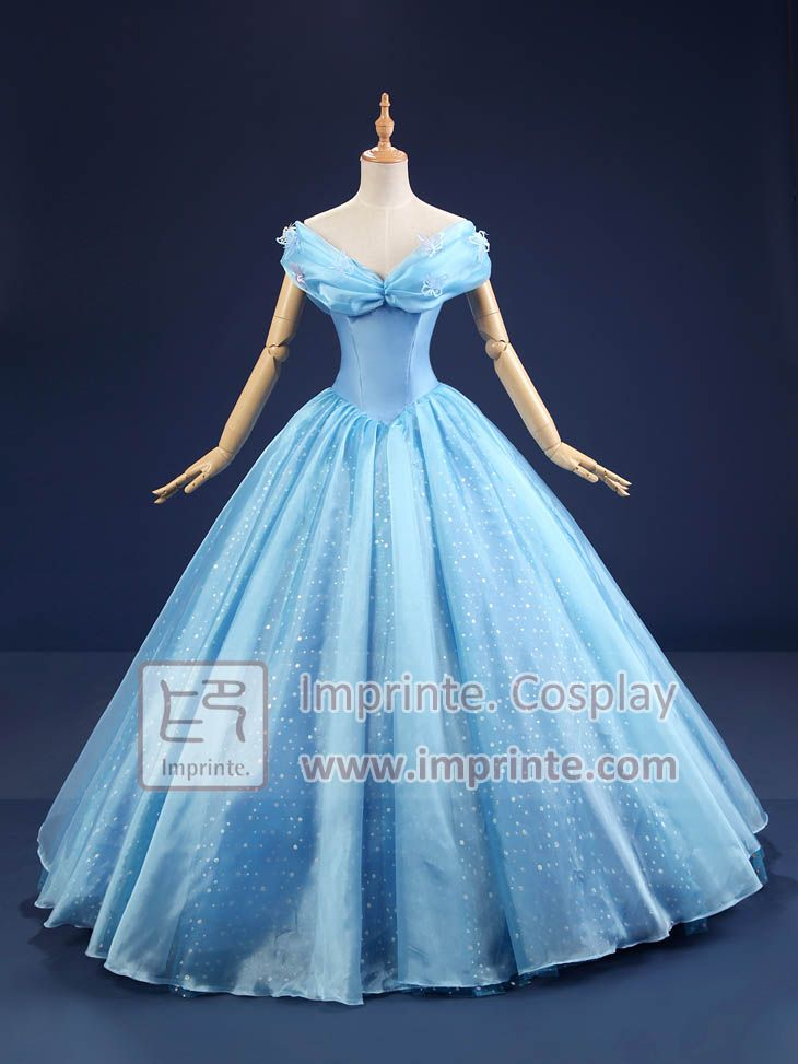 Adult cinderella deluxe dress cosplay costume 2015 movie for Disney princess cinderella wedding dress