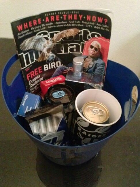 Husbands Birthday Gift Basket Magazine Raiders Cup With Beercigarettes Razors Monster Energy Drink Eye Drops Cologne Cigar