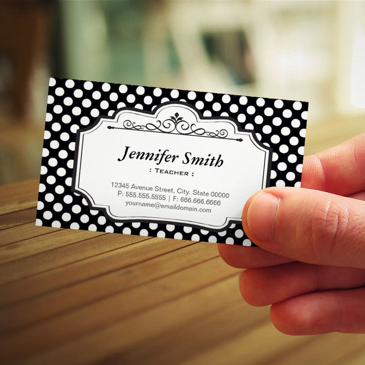 Teacher black polka dots business card templates you can teacher black polka dots business card templates you can customize this card with your accmission Images