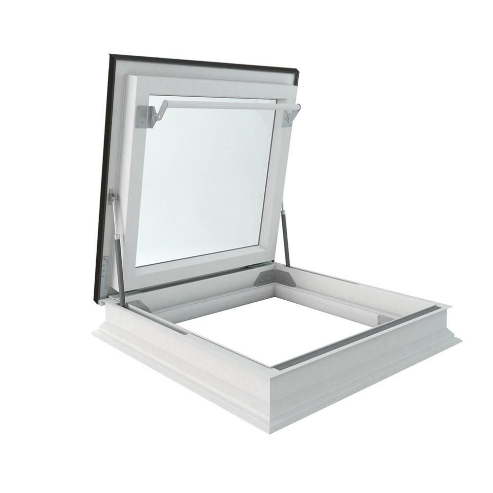 Fakro Drf 36 In X 48 In Venting Flat Roof Deck Mount Roof Access Skylight Triple Glazed Roof Hatch In 2020 Roof Skylight Flat Roof Skylights Roof Hatch