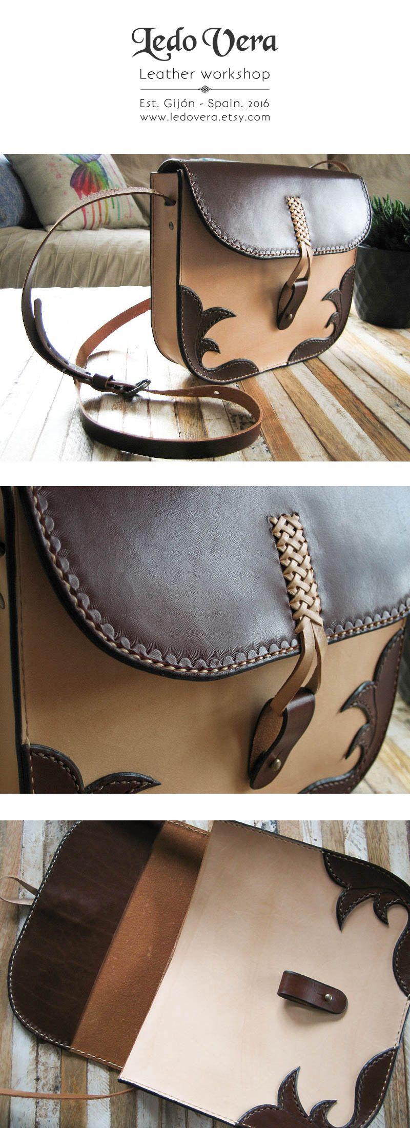 a completamente leather purse de hecho Bolso Handcrafted mano cuero x1UqOBB
