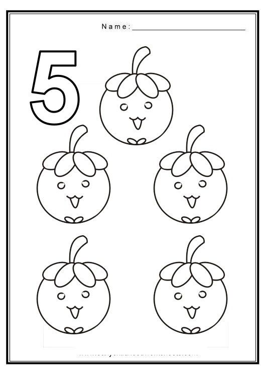 Free coloring pages of number 5