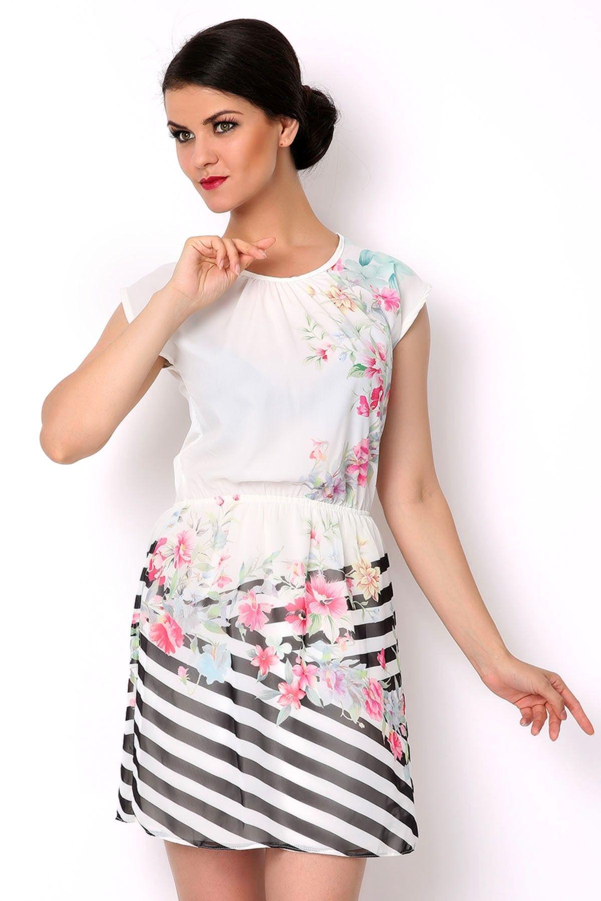 9b261ea204be9 KREM - ÇİÇEK BASKILI ELBİSE   Tozlu.com.tr'de!   Elbise Modelleri ...