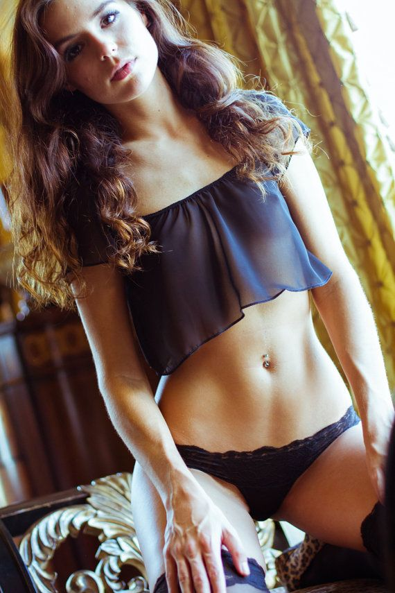 31d0d0669e See through blouse - Black Lingerie Sheer - Chiffon Crop Top - Small - VDAY…