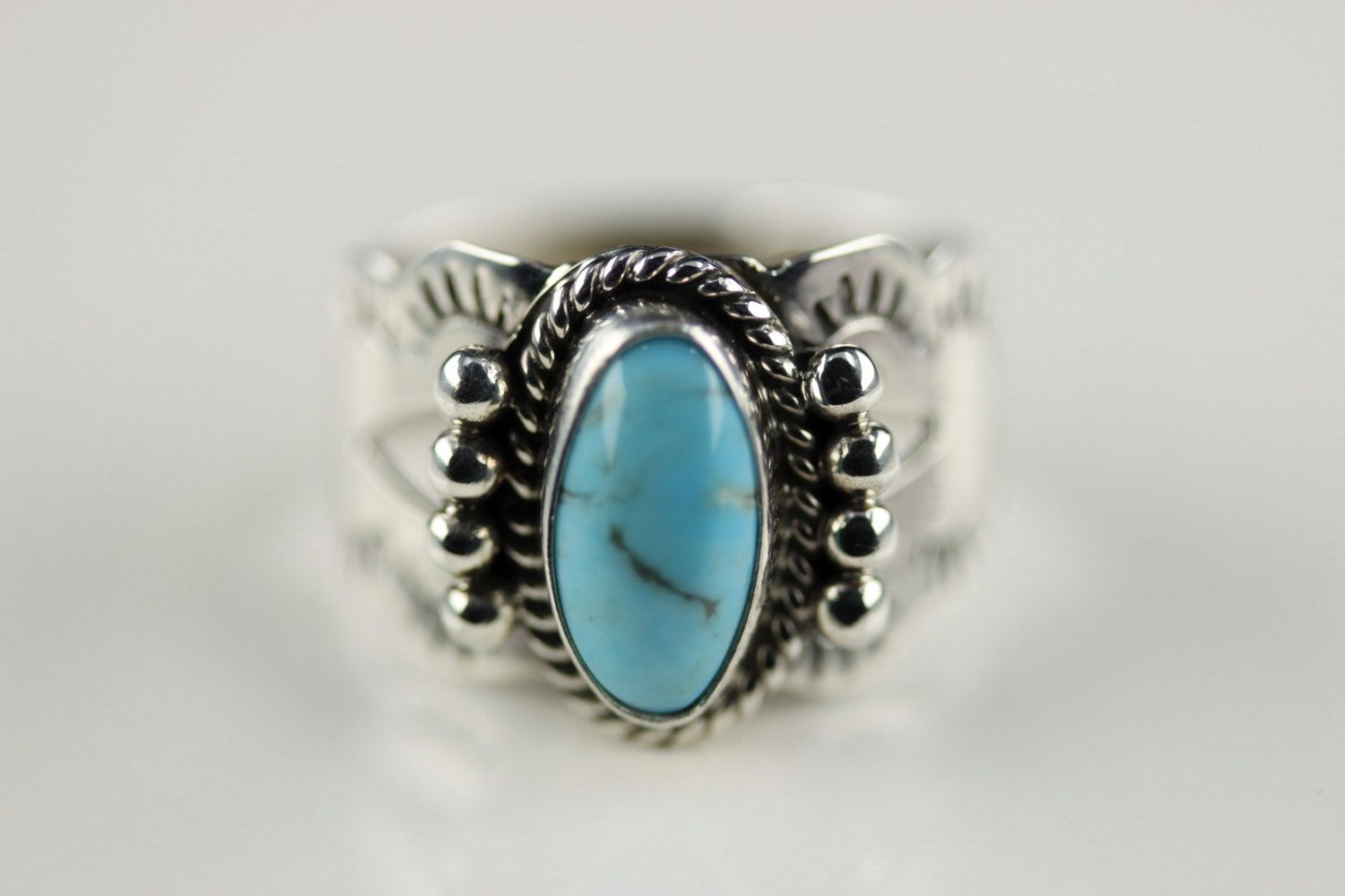 Native American Navajo Sterling Silver Turquoise Ring Size 8 By Jan Mariano by LoudCrowTradingCo on Etsy