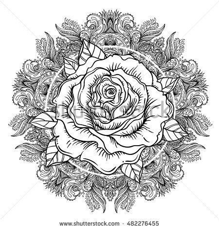 Rose flower over mandala. Tattoo flash. Highly detailed ...