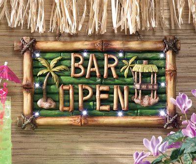 Tiki Bar Open Lighted Sign Wall Decor/$14.99   Pool   Pinterest ...