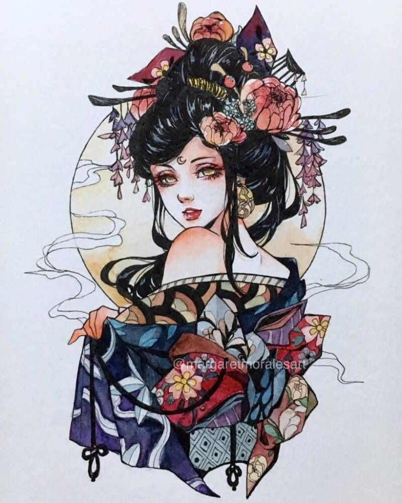 Watercolor Artist Margaret Morales Watercolor Artwoonz In 2020 Geisha Art Japanese Tattoo Art Geisha Tattoo Design