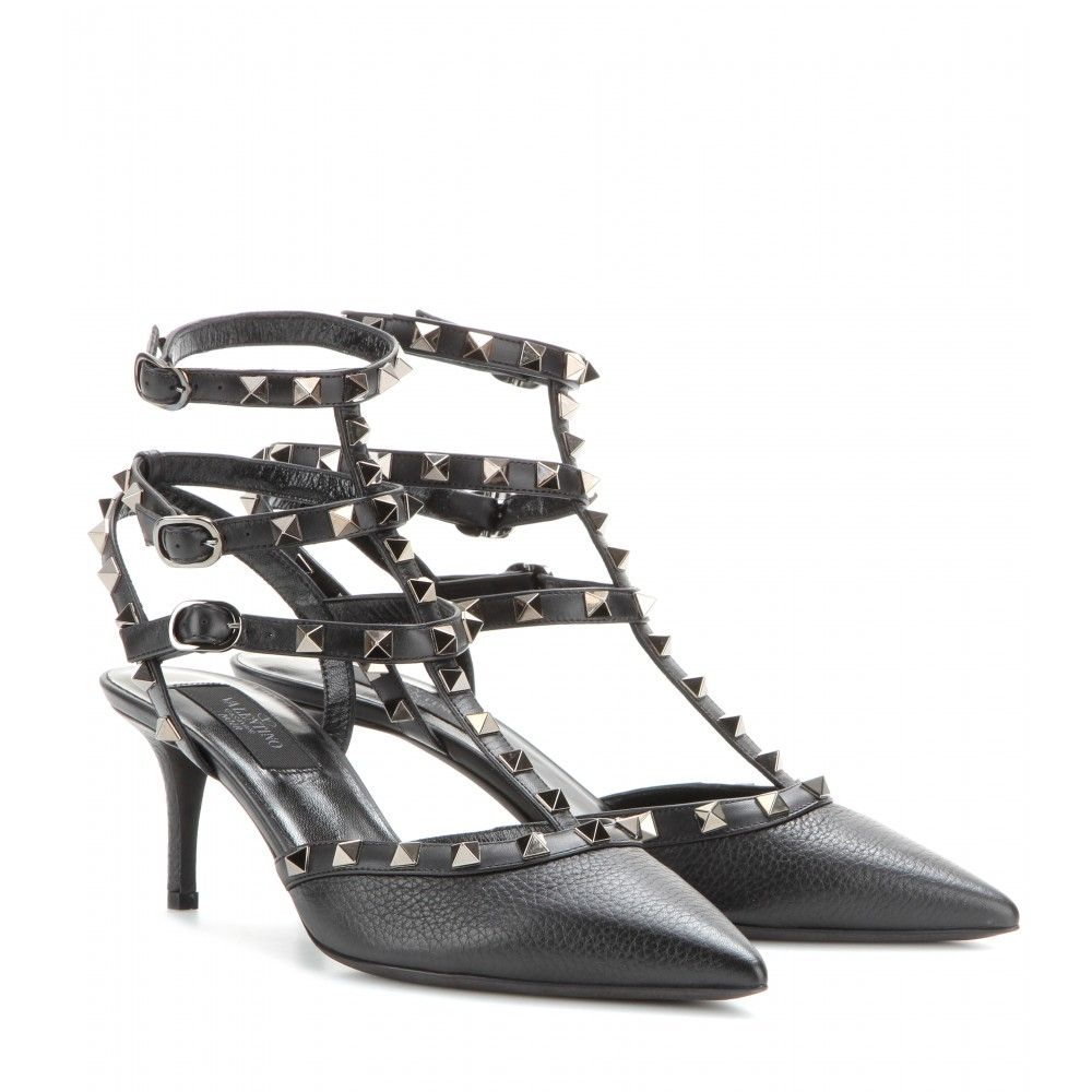 Valentino Rockstud Noir Leather Kitten-heel Pumps - Black Rockstud Noir  leather kitten-heel