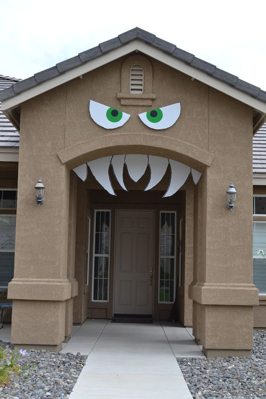turn your housefront door into a monster simple and cheap halloween craft decoration idea - Cheap Halloween Decorating Ideas