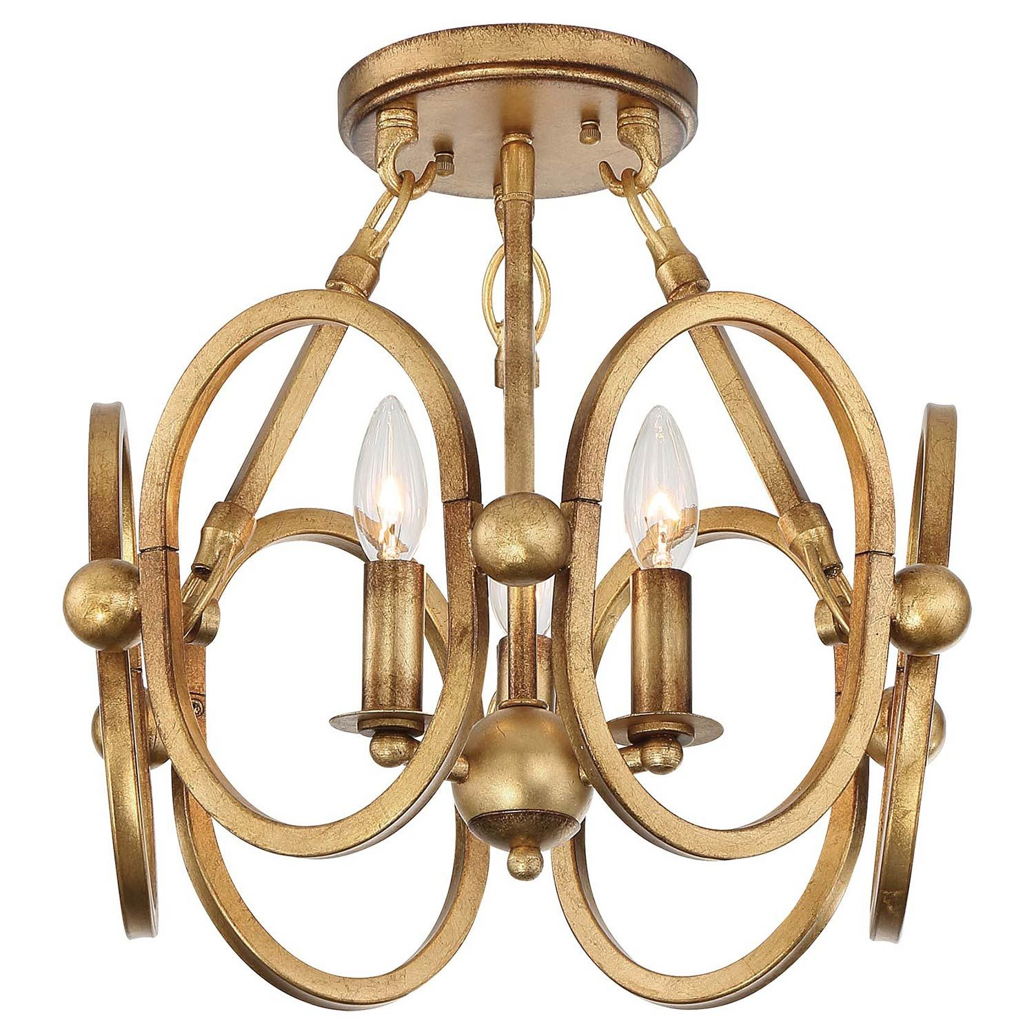 Metropolitan Lighting Clairpointe Pandora Gold Leaf Three