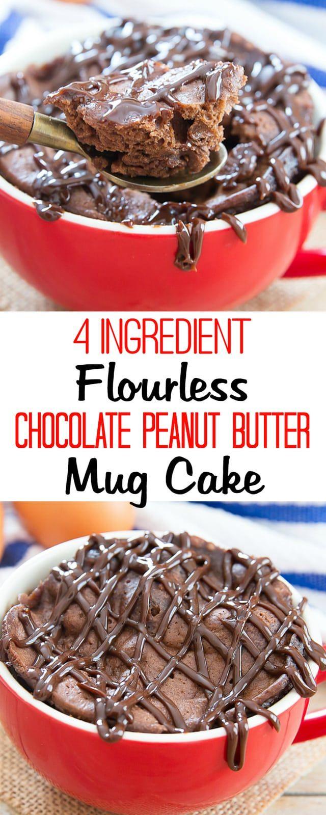 4 Ingredient Chocolate Peanut Butter Mug Cake | Recipe ...