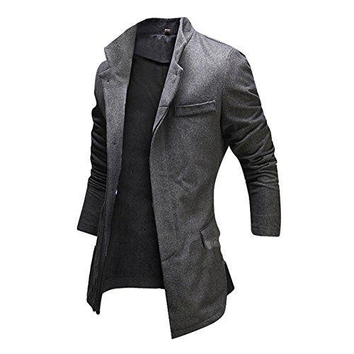 691a1b573518 Janecrafts Herren Mäntel Jacke Slim Fit Winterjacke Wärmemantel  Wintermantel Sakko Pea Coat Wolle Mäntel Outwear
