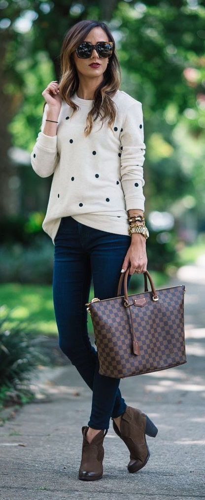 183014fc2268 Cream and navy polka dot sweater and dark chocolate booties. Stitch ...