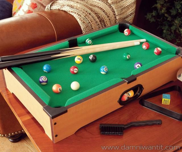 This portable miniature pool table set is the ideal space ...