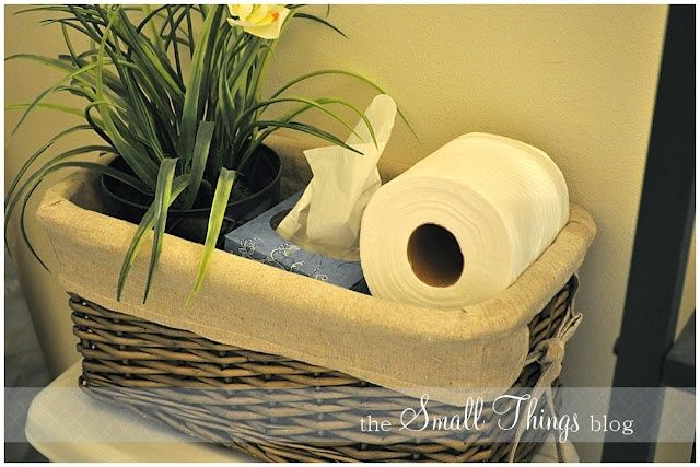 Put A Basket On Top Of Toilet For Storage So You Dont Seen Like Youre Just Putting Clutter Use Or Nice Tray