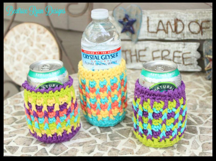 Rainbow Ridges Can Cozy Free Crochet Pattern Crochet Cozys