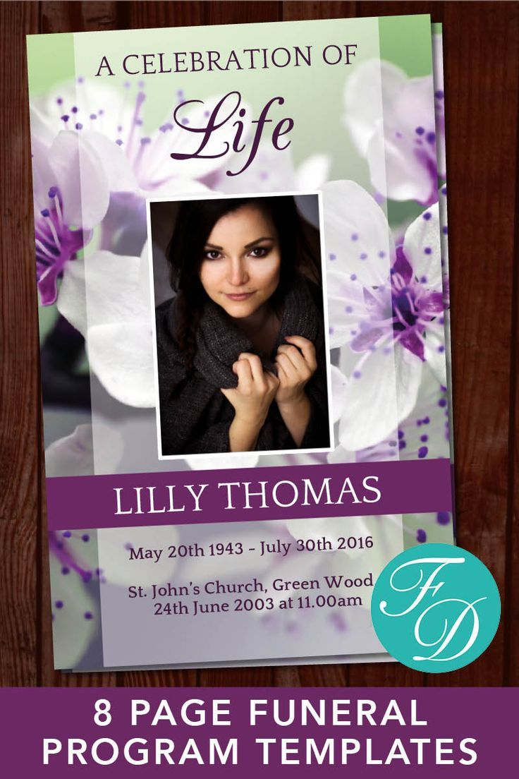 8 page purple green funeral program template 8 page
