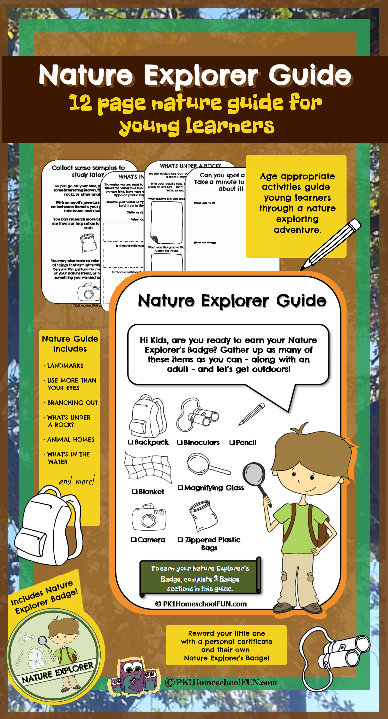 free nature explorer guide printable pack diy projects to try homeschool nature activities. Black Bedroom Furniture Sets. Home Design Ideas